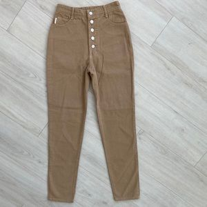 NWT Vintage Bongo jeans button fly long tan